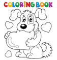 coloring book valentine dog theme 1 vector image vector image