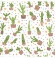 cute cactus seamless pattern vector image