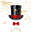Cylinder Hat with Bow Tie and Confetti vector image vector image