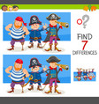 differences game with pirate characters vector image