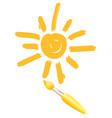 drawing sun brush images icon smiley vector image