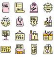 duty free shop icons set flat vector image vector image