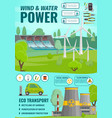 eco wind water power and nuclear energy vector image