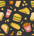 fast food seamless pattern tasty unhealthy meals vector image vector image