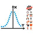 gauss plot icon with dating bonus vector image vector image