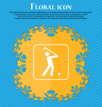 Golf icon Floral flat design on a blue abstract vector image vector image
