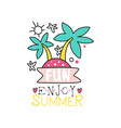 hand drawn logo with island and palm trees emblem vector image