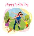 happy family day in park cartoon concept vector image vector image