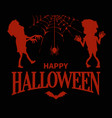 happy halloween silhouettes on vector image vector image