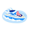 happy woman lying on ship deck and take sun vector image