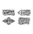 hot coffee vintage style set logo emblem vector image