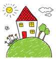house on a hill doodle vector image vector image