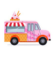 ice cream truck in flat style vector image