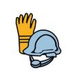 industry gloves with helmet vector image vector image