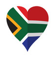 isolated flag of south africa on a heart shape vector image