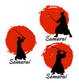 japanese samurai warriors silhouette vector image vector image