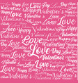 little pink hearts in pattern over gradient pink vector image