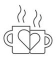 lovely mugs thin line icon romantic and love vector image vector image