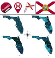 map of florida with regions vector image vector image