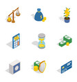 money and finance icons isometric 3d style vector image vector image