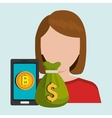 person with smartphone and coin isolated icon vector image