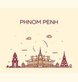 phnom penh skyline cambodia trendy linear vector image