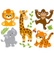 set jungle animals vector image vector image