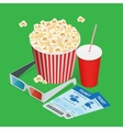 Set popcorn drink 3d glasses realistic vector image