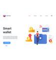 smart wallet digital technology landing page send vector image