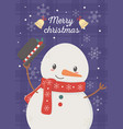 snowman celebration happy christmas poster vector image