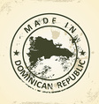Stamp with map of Domican Republic vector image vector image