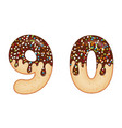 tempting typography font design 3d donut numbers vector image vector image