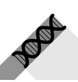 the dna sign black icon with two flat vector image vector image