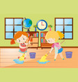 two girls cleaning room vector image vector image