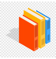vertical stack of colorful books isometric icon vector image vector image