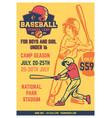 vintage brochure leaflet flyer poster baseball vector image vector image