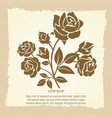 vintage poster with bush of roses vector image vector image