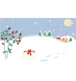 Winter Landscape Stars Moon Briar Present vector image vector image
