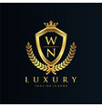 wn letter initial with royal luxury logo template vector image vector image