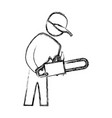 worker carpenter silhouette vector image vector image