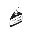 Piece of cake with cherry icon isolated vector image
