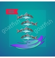seafood themed with fishes wave and vector image