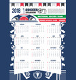 2018 calendar template soccer football vector image vector image