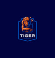 a tiger lies with its head down vector image vector image