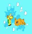 bear and the tortoise-soap bubbles vector image