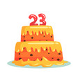 birthday cake with number 23 celebration party vector image