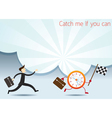 Businessman Run to catch Clock Character vector image