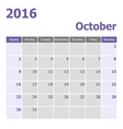 Calendar October 2016 week starts from Sunday vector image vector image