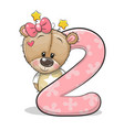 cartoon teddy bear girl and number two isolated