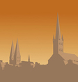 Contour of the old city on an orange background vector image vector image